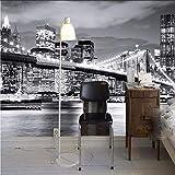 Zxdxd Murale personnalisée Vue de nuit Pont de Manhattan New York Villes européennes et américaines Fond noir et blanc Salon Fond d'écran-280X200CM