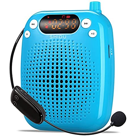 SHIDU S611SD UHF amplificatore vocale (10W) con 2600mAh batteria al litio con il microfono wireless per insegnanti/Trainer/Guida Turistica e più Blu Blau/UHF-10W