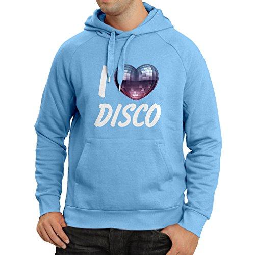 lepni.me Kapuzenpullover Ich liebe Disco - Retro Musik Kleidung (Small Blau - Halloween-rätsel Kreuzworträtsel