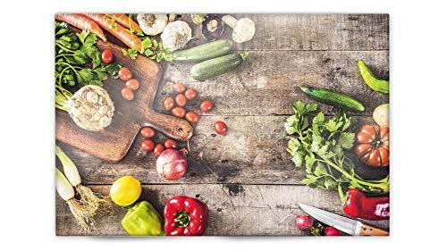 Glasvision   Küchenrückwand aus Glas   Spritzschutz   Memoboard   Herdabdeckplatte (60 x 40 cm, Garden Vegetables) (Platten Dekorative Kraut)