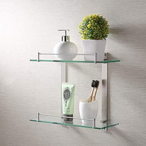 KES Badregal Doppelglas mit Wandhalterung Glasboden und Reling Wandablage aus Glas, Edelstahl Gebürstet SUS 304, BGS2202B-2 - Chrom Gebürstet Glas Regal