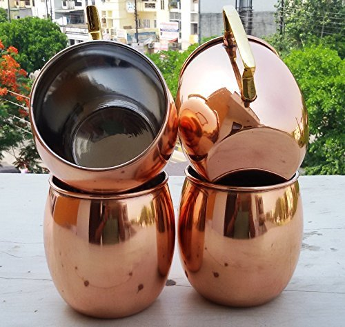 Barrel Copper Moscow Mule Mug Handmade of 100% Pure Copper, Nickel Lined, Brass Handle Solid Copper Moscow Mule Mug / Cup 16 Ounce,set Of-4, by CGP 16 Oz Barrel Mug