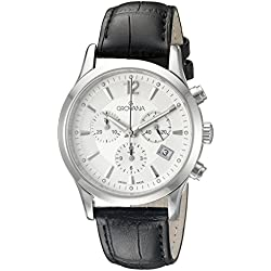 GROVANA 1209.9532 Men's Quartz Swiss Watch with Silver Dial Chronograph Display and Black Leather Strap