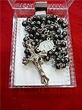 Rosary Hematite Black Stone Beads Cross Pendant Long Beaded Necklace Holy Land
