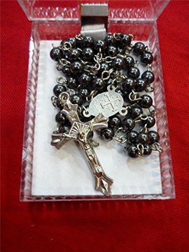 a4ce77b547a4 Rosario hematita piedra negra perlas Cruz colgante largo con cuentas collar  santo tierra