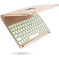 iEGrow Apple Bluetooth Clavier Étui F8Spro 9.7 Couleurs LED Rétroéclairé pour iPad Pro 9.7 Pouces [AZERTY français] Or
