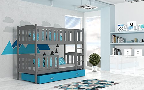 Etagenbett Hochbett JAKOB 184x80 Farbe grau/blau unschädlich lackiert Kinderbett NEU