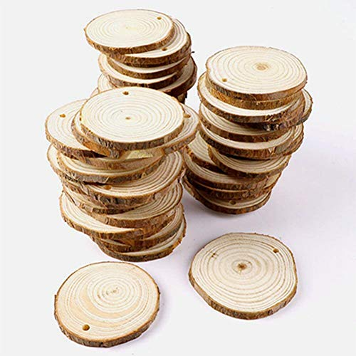 scheiben zum basteln mit Loch,Holz Log Scheiben 5-6 cm Rund für DIY Handwerk Hochzeit Mittelstücke Weihnachten Dekoration ()