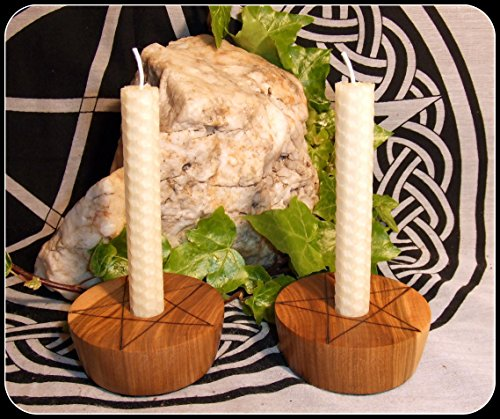 pair-of-pentagram-candle-holders-in-muhuhu-wood-with-handrolled-beeswax-ivory-candles-altar-set-paga
