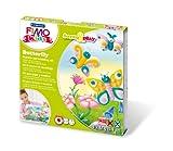 Staedtler 8034 10 LY Fimo kids form&play Set Butterfly (superweiche, ofenhärtende Knete, kinderleichte Anleitung, wiederverschließbare Box, Set mit 4 Fimo Blöcken, 1 Modellierstab und 1 Spielkulisse)