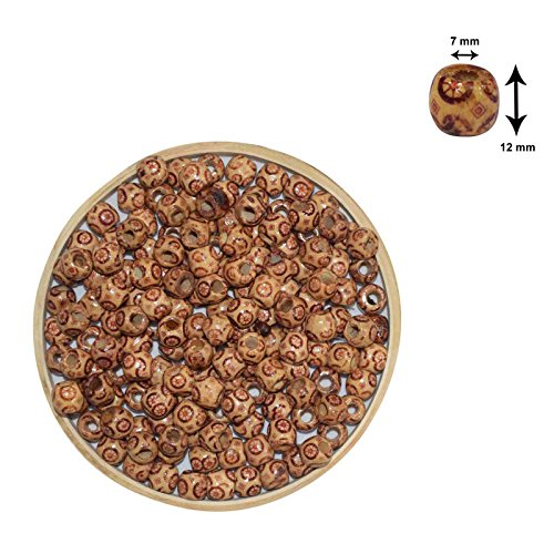 Asian Hobby Crafts Wooden Beads (50 Pieces, 10mm, Pattern 3)