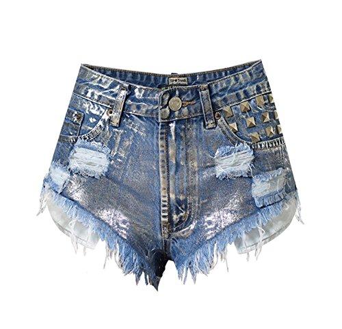 Byjia American Damen Hohe Taille Dünn Getragenen Nieten Denim Mini Shorts Heiße Hosen Night Club . Blue . 36