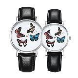 Man-hj 6812 runde Vorwahlknopf-Legierungs-Silber-Kasten-Art- und Weisepaar-Uhr-Männer u. Frauen-Liebhaber-Quarz-Uhren mit PU-Leder-Band Uhren (Artikelnummer : Wa0725a)