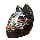 FAFY Helm Vollgesichts Motorrad Helm Männer Frauen Moto Helm Katze Helm Casque Moto Cat...
