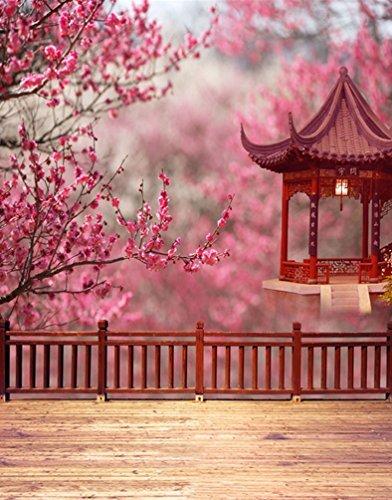 Rosa Blumen-Baum Chinesischer traditioneller Pavillion-Fotographien-Hintergrund Foto-Stützen Studio-Hintergrund 5x7ft