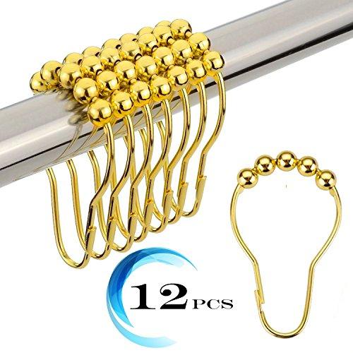 Duschvorhang Haken, Bad Vorhang Ringe Edelstahl rostfrei Metall Doppel Glide poliert chrom Set von 12Haken gold (Badezimmer Duschvorhänge Bronze)