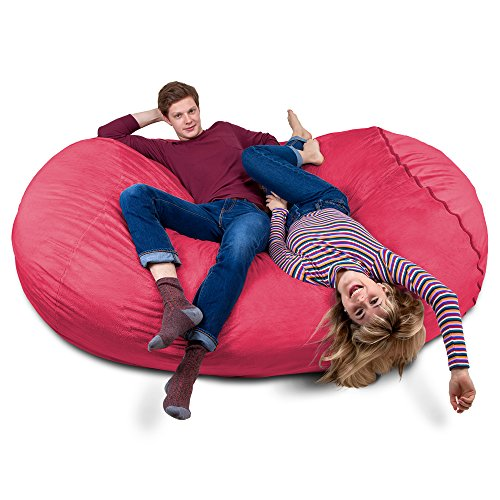 Charlie & Finn Riesiger Giga Sitzsack in Rosa mit Memory Schaumstoff Füllung und waschbarem Bezug - Gemütliches Sofa, Riesen Bett, Kuschelige Liege, Bean Bag für Kinder, Teenager und Erwachsene