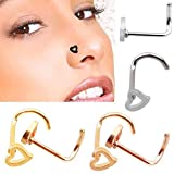 Formemory 4 pcs Herz Nasenpiercing Nasenring Edelstahl Nasenstecker Nasenpiercing Ring Nase Piercing Fake Hoop Ring /4 Farben 0.8mm