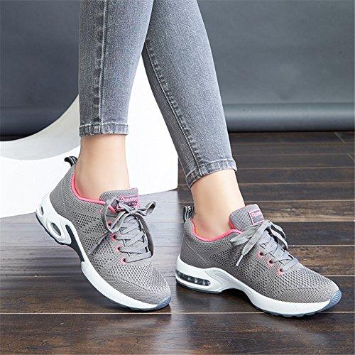 MIMIYAYA Donna Air Scarpe da Ginnastica Corsa Sportive Running Fitness Sneakers Basse Interior Casual all'Aperto Leggero e Traspirante 34-40EU Grigio