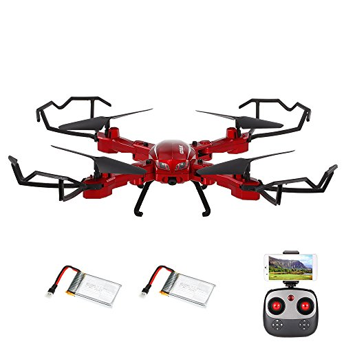Drone with camera, GoolRC T5W PRO 2.4G 4G 720P XNUMXP HD Camera Wifi FPV folding RC Quadcopter Selfie Drone with two batteries