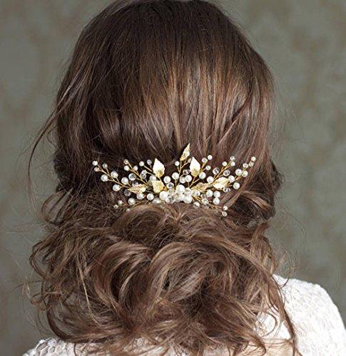 Aukmla: Hochzeit-Haarkamm mit Strassbesatz, Haarschmuck für Braut und Brautjungfer