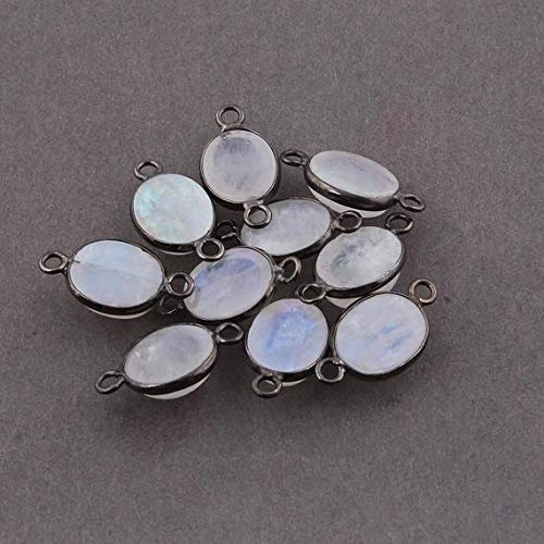 Earth Gems Park Super Fine Quality Gems Jewelry 10 PCS White Rainbow Moonstone Oxidized Silver Plated Smooth Oval Double Bail Connector - 18x10-19x10 mm Code:- BF-5348