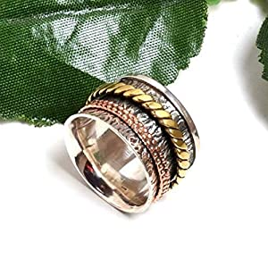 Meditationsringe, Spinnerringe, Silberringe für Frauen, Beautiful Designer Spinning Ring for Women, Anxiety Ring for Meditaion, Textured Ring, 925 Sterling Silver Spinner Band Rings
