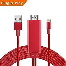 Lightning a HDMI, cable de alambre de nailon 6,6m, 1080p HDMI Video Cable AV conector adaptador de conversión mismo dispositivo pantalla HDTV para iPhone 8/7/6/5Serie, Pad Air/Mini/Pro, iPod Touch (5ª generación)