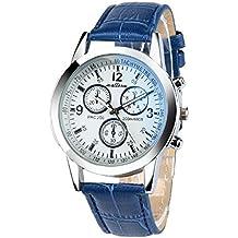 FAMILIZO Reloj De Moda De Los Hombres De Faux De Cuero De Cristal Ray Azul De Relojes Analógicos De Cuarzo De Alta Calidad (F)