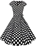 Dresstells Vintage 50er Swing Party kleider Cap Sleeves Rockabilly Retro Hepburn Cocktailkleider Black White Dot L
