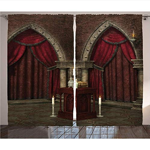 WKJHDFGB Tende Casa Gotica Misteriosa Camera Oscura nel Castello Antico Pilastri Candele Atmosfera Spirituale Soggiorno Arredamento Camera da Letto,215X200Cm
