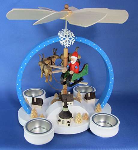 Teelicht Pyramide 23cm Weihnachtsmotiv farbig - Handarbeit aus dem Erzgebirge !