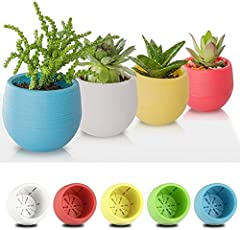 Sellify White, 7X65mm Plastic Flower Pot Succulent Plant Flowerpot For Home Office Decoration 5 Color Garden Supplies