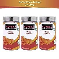 Nutraj Dried Apricots 200g Silver Jar (Pack of 3)