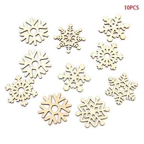 Kofun 10x Naturholz Schneeflocke Laser Geschnittene Weihnachten Weihnachtsbaum Hängende Ornamente Dekor