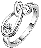 SaySure - Silver plated fashion jewelry, heart drop water Ring (SIZE : 8)