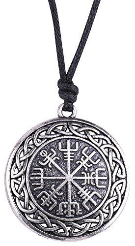 VASSAGO - Colgante talismán vintage de nudo céltico de estilo vikingo y nórdico, con símbolo vegvisir, para collares de hombre y mujer