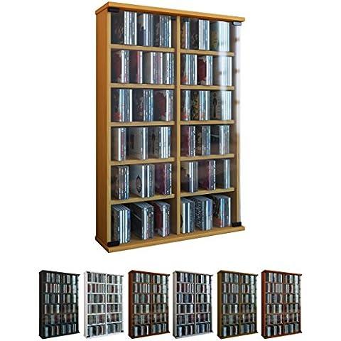 VCM Roma - Torre para CD/DVD, para 300 CDs,  color Roble rústico, dimensiones 92x60x18 cm
