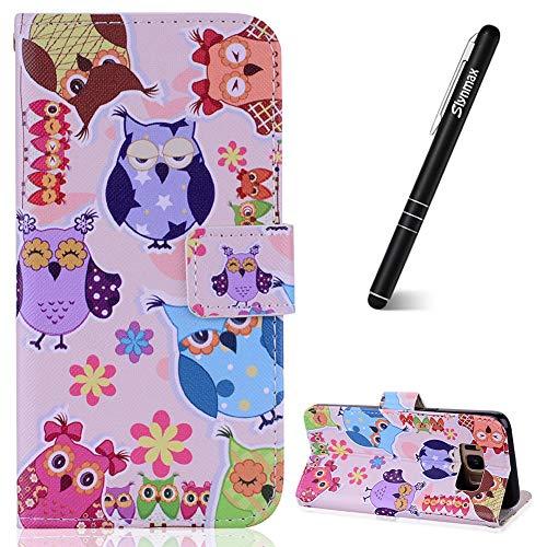 (Slynmax Schutzhülle für Samsung Galaxy S8, Leder, mit Standfunktion, mit Kartenfächern, inkl. 1 Eingabestift Eulen-Motiv)