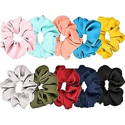 10 Piezas de Scrunchies de Pelo Banda de Pelo de Flor de Gasa Coletero Elástico para Mujeres y Chicas, 10 Colores
