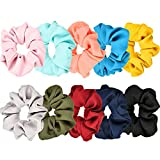 10 Pieces Hair Scrunchies Hair Bobbles Scrunchies Chiffon Flower Hair Bow Elastic Ponytail Holder for Women and Girls, 10 Colors