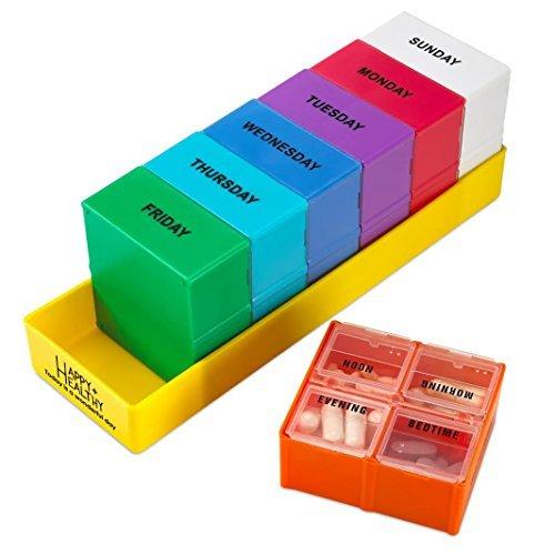 Herausnehmbare Wöchentliche Pillendose von MEDca, mit 4 Abschnitten, Morgens, Mittags, Abends und Nachts
