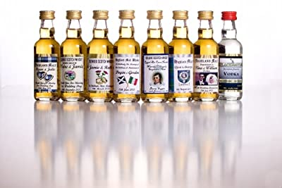 Pack of 8 Personalised Scotch Whisky OR Vodka Miniatures -Please email details for the design of your personalised label by Glen Katrine