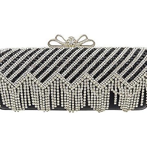 Da Wu Jia Ladies borsetta di alta qualità di lusso diamanti donne infiorescenza staminifera frizione/formale / evento/festa di nozze / sera Borsa/borsa/borse/Eveningbags/vetro/pietra/fiocco , argento