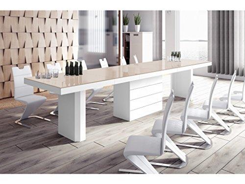 H MEUBLE Table A Manger Design Extensible (160 ÷ 223 ÷ 349 ÷ 412) CM X P : 100 CM X H: 75 CM - Cappuccino