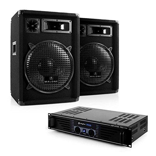 "DJ PA-Komplett-Set Nizza Nights - PA-Sound-System, Dj-Set, Musikanlage, Verstärker max. 480 Watt, 2 x Boxen je 400 Watt, 3-Wege-Box, 25cm (10\"") Subwoofer, Kabel-Set, 95dB, 8 Ohm, schwarz"