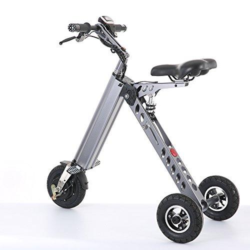 TopMate Eléctrico vehículo Mini Moda de Bicicletas y electrónica Inteligente de Movilidad eléctrica de Triciclo Plegable y portátil Bicicleta eléctrica (ES30-Gris)