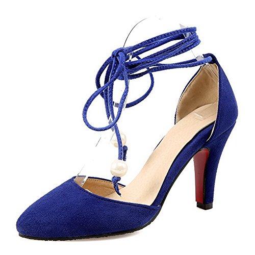 AllhqFashion Damen Nubukleder Hoher Absatz Spitz Zehe Rein Schnüren Pumps Schuhe Blau