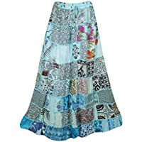Women's Long Skirt Sky Blue Vintage Ethnic Patchwork Rayon Maxi Skirts S/M