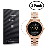 Youniker 3 Pack Fossil Q Venture Screen Protector Tempered Glass,Fossil Q Venture Screen Protector Foils Glass 9H Hardness 0.3MM Slim,Anti-Scratch, Anti-Fingerprint,Bubble Free